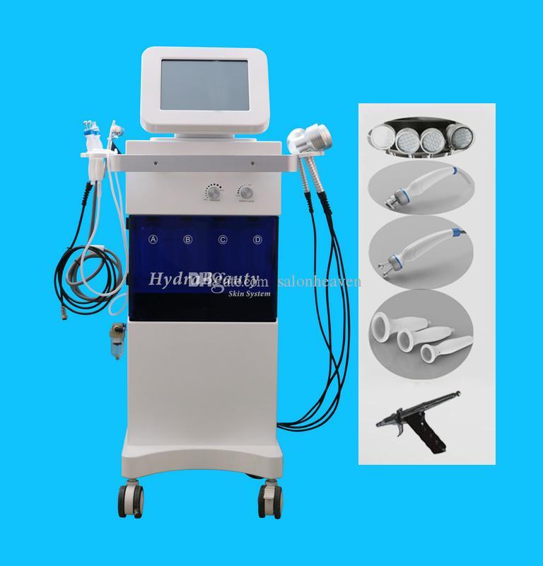 Profesyonel Hidrakasiyal PDT LED Işık 7 Renkler Oksijen Sprey Bio Mikro Akdeniz Vakum Kalem Hidro Dermabrazyon Hydra Yüz Cilt Bakım Makinesi