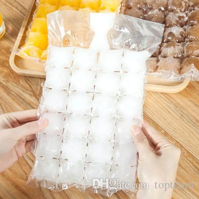 Wholesale Disposable Ice Cube Bags 10Pcs Frozen Juice Liquid Clear Sealed Pack Party Bar BBQ Ice Cream Model Ice Cube Tray Mold