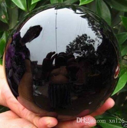 100MM + موقف ، أسود حجر السج المجال كبير كريستال الكرة شفاء الحجر