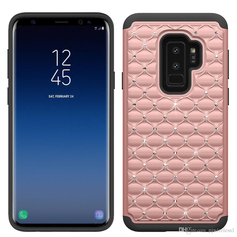 Hybrid Armor Case For Samsung Galaxy S9 Plus Bling Diamond Starry Rubber PC + Silicone Rhinestone Phone Case D