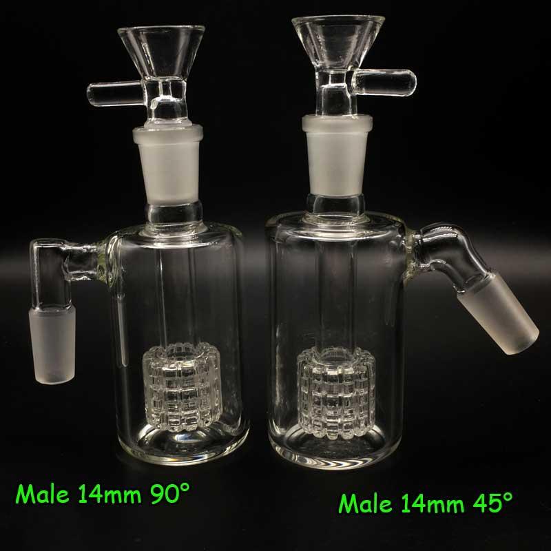 Catchers de cenizas de vidrio 14 mm 18 mm 45 90 grados con narguiles de cuenco de humo Ashcatcher Perfilador de neumáticos para adaptadores de gancho J-Bongs de agua Plataformas petroleras