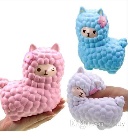 Jumbo 16CM Kawaii Cute Alpaca/Sheep Squishy Phone Strap Decor Slow Rising Collection Bread Cake Funny Animal Toys New Year Gifts