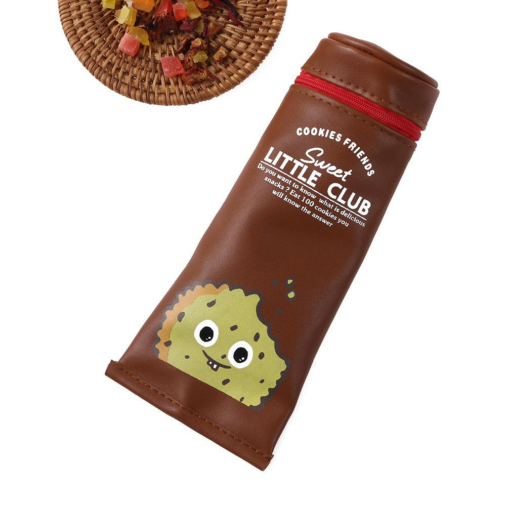 1 PC Cartoon Cookies Au Chocolat Saucisse Dentifrice En Forme de Sac De Rangement En Cuir PU Fournitures Scolaires Shopping Bag