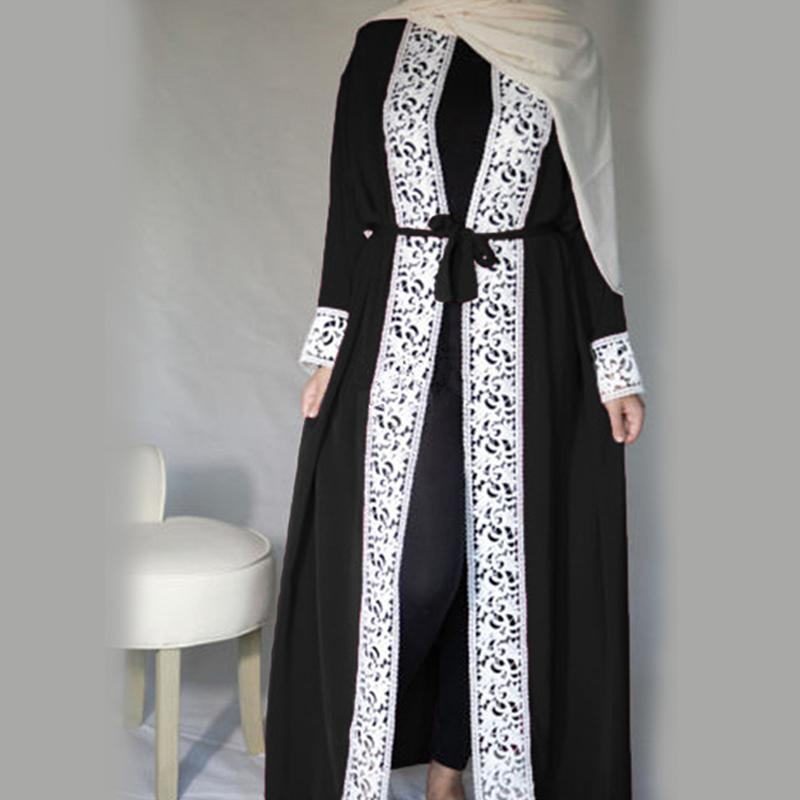 Malaysia Open Abaya Turkish Robe Islamic Clothing Women Lace Spliced Stitching Lace Fashion Muslim Long-sleeved Loose Large Swing Dress