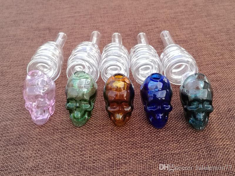 Ventas al por mayor Cráneo de vidrio Quemador de aceite Tubo de colores Tubo helicoidal Tubos de vidrio Pyrex Tubo de quemador de aceite Tubo de colores grandes para fumar Accesorios
