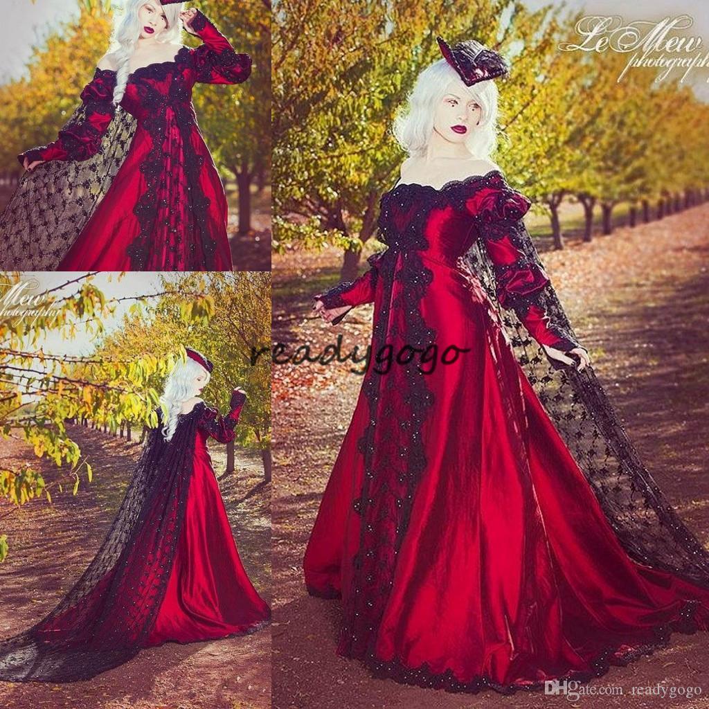 블랙 레이스와 레드 고딕 웨딩 드레스 2018 멋진 로브 드 Mariage 프릴 주름 Graden 섹시한 오프 어깨 긴 소매 멋진 신부 가운