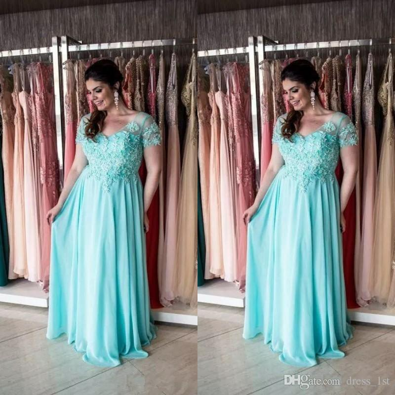 2018 плюс размер мать невесты Платья V шеи с короткими рукавами довольно кружева аппликация линия шифон Aqua мать невесты Платья