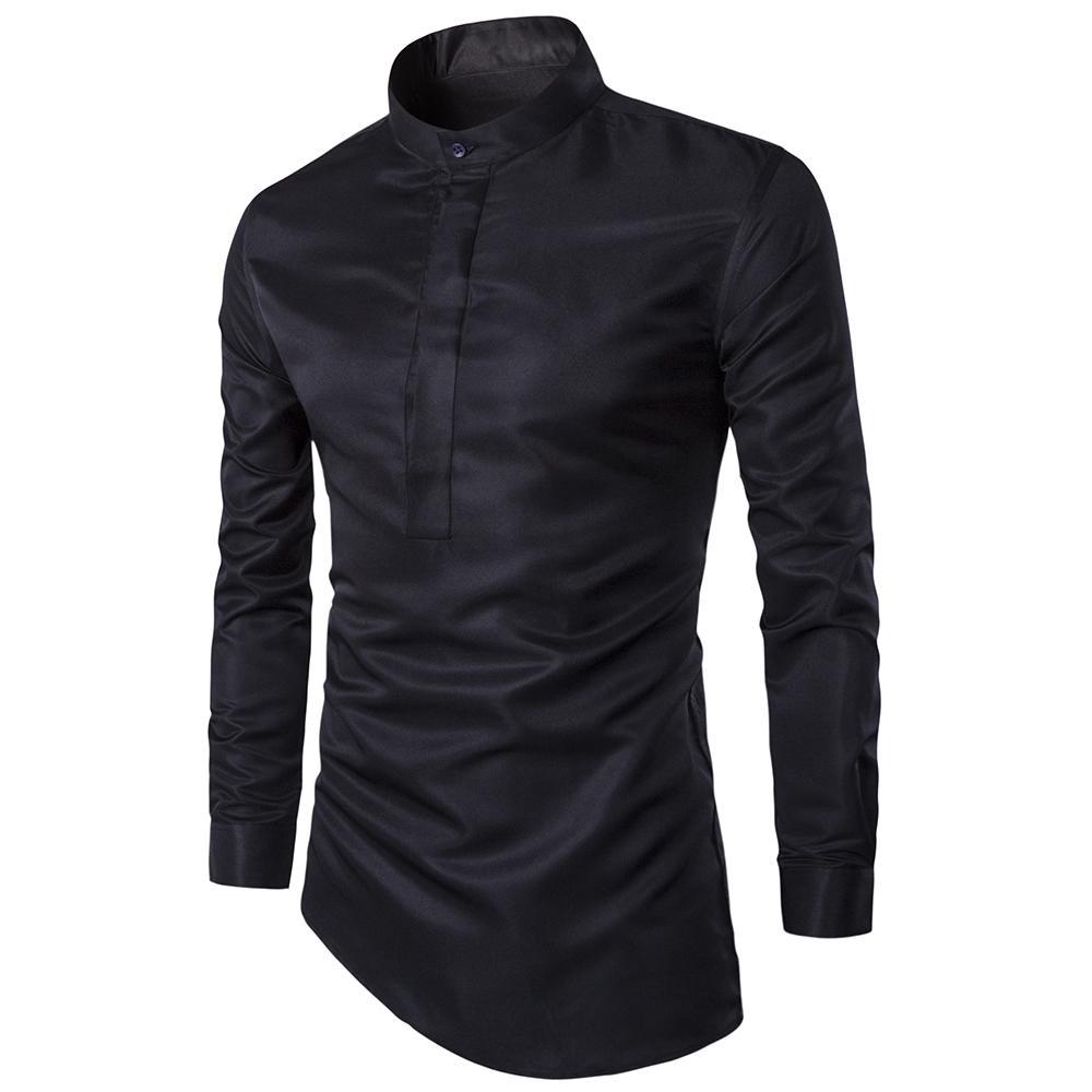 2017 패션 망 셔츠 나이트 클럽 스타일 오블리 어 헤미 Camisa Social Masculina 남자 슬림 피트 섹시한 클럽 착용 Chemise Homme M-3XL