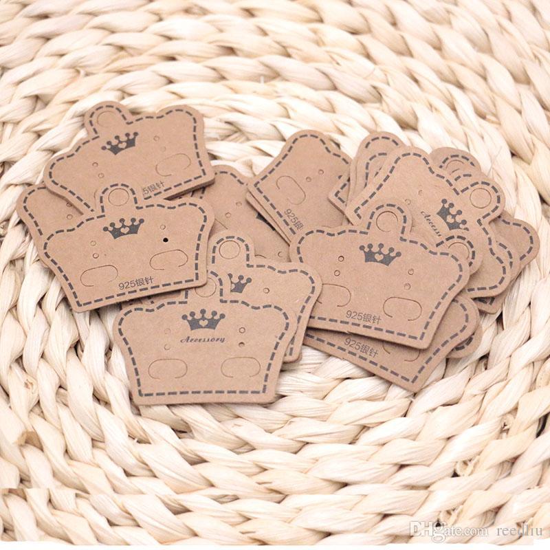 200 unids / lote Ear Studs tarjeta etiqueta etiqueta etiquetas etiquetas collar / pendiente / horquilla / colgante tarjetas de embalaje joyas muestra papel Kraft papel