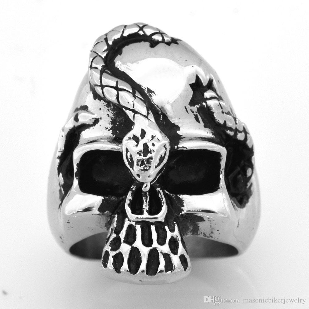 FANSSTEEL INOX Les hommes vintage punk ou des femmes de fantôme BIJOUTERIE serpent crâne MEDALLION SKELETON GOTHIQUE BIKER RING FSR09W41