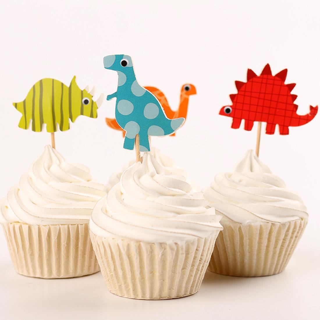 Il la cosa migliore 24pcs / set decorazione della torta del bigné del dinosauro la decorazione di acquazzone del bambino scherza la decorazione del partito di cottura del partito della torta di compleanno dei capretti