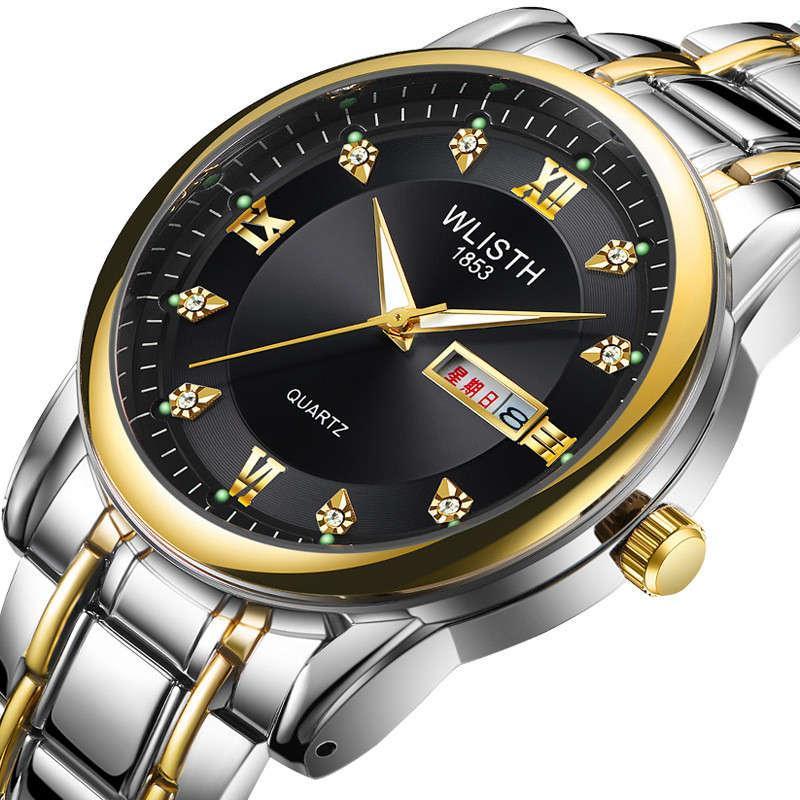 Top Brand Mens Watch Relojes de oro para hombre Reloj de pulsera de acero inoxidable resistente al agua Reloj de pulsera Fecha de calendario inglés Reloj de cuarzo D