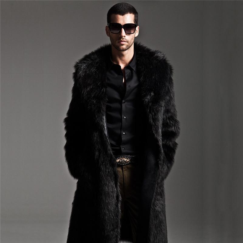 طويل فو الفراء معطف الرجال الشتاء فو الفراء سترة رجل فاسق سترة سترة كامل طول المعاطف الجلدية الذكور معطف manteau زائد الحجم