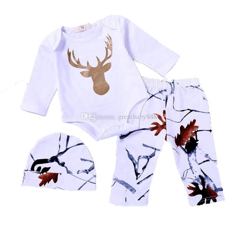Crianças meninos meninas roupas bebê Xmas cervos impressão romper + calça + chapéu 3 pçs / set 2018 outono crianças Conjuntos de Roupas de Natal C4669
