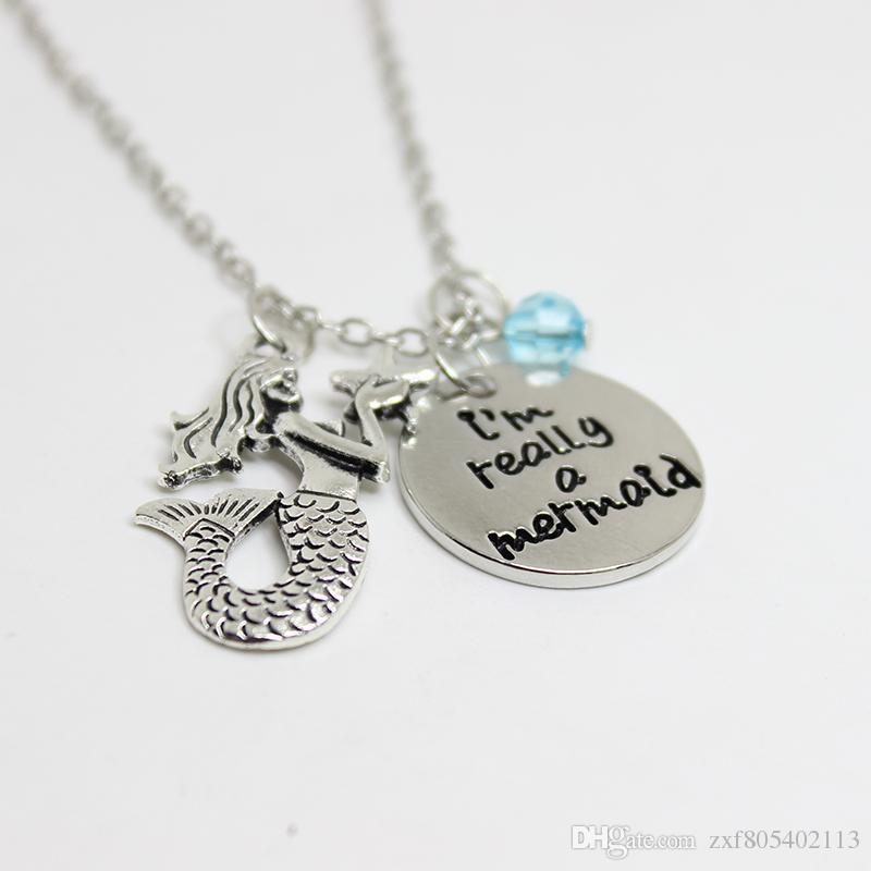 """12pcs / lot kleine Meerjungfrau inspirierte Halskette """"ich bin wirklich eine Meerjungfrau"""" Kristallcharme-Halskette antike silberne Meerjungfraucharme hängende Halsketten"""