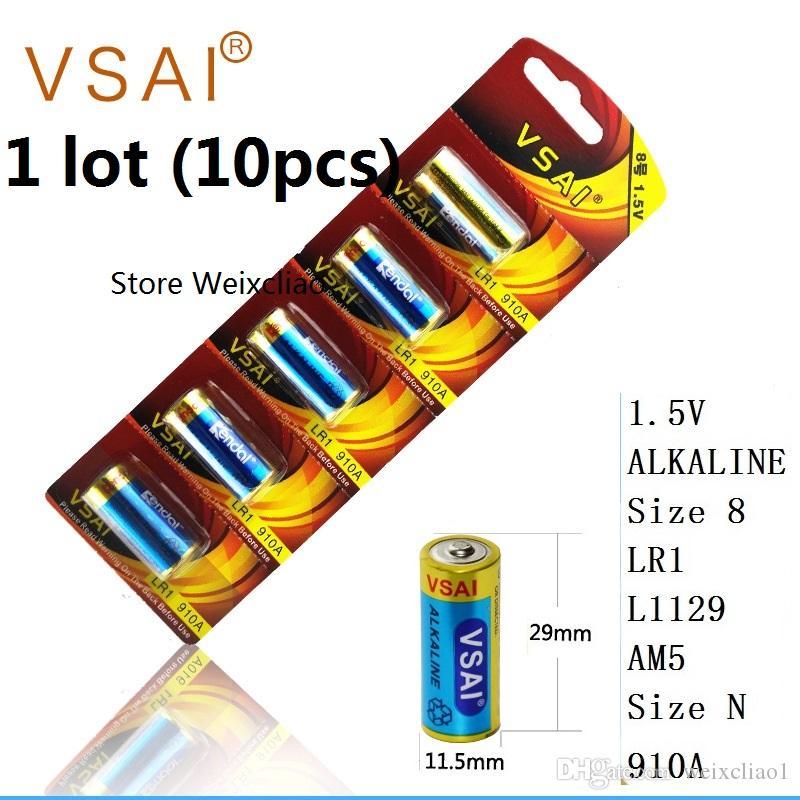 10 adet 1 grup Boyutu 8 LR1 L1129 AM5 Boyut N 910A 1.5 V Alkali Pil Kart Paketi VSAI Ücretsiz Kargo