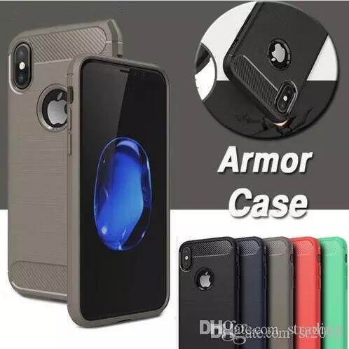 Capa de telefone de fibra de carbono robusto armadura híbrido à prova de choque fino macio tpu escovado tampa traseira anti choque para iphone x xs max xr 8 7 6 plus