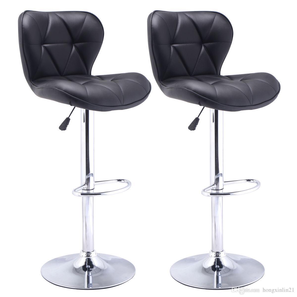 Astonishing Of 2 Bar Stools Leather Modern Hydraulic Swivel Dinning Chair Barstool Black From Hongxinlin21 55 28 Dhgate Com Machost Co Dining Chair Design Ideas Machostcouk