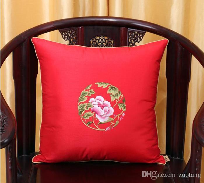 Fine broderie pivoine fleur taie de coussin coussins de noël décor à la maison canapé chaise lombaire oreiller haut de gamme taie d'oreiller en satin de soie
