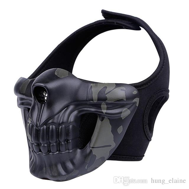 Máscara de calavera de Halloween máscaras de campo al aire libre airsoft paintball capucha traficante Máscara de caballero de gloria CS equipo de protección táctica