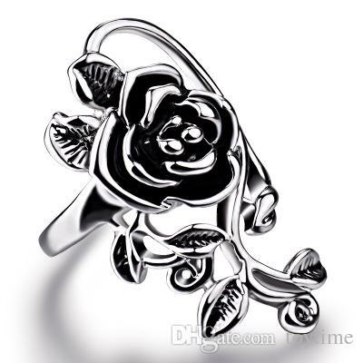 Nouveau Gothique Vintage En Acier Inoxydable Grande Rose Fleur Bague Anneaux pour Femmes Dames Parti Bijoux En Gros pour Livraison Gratuite