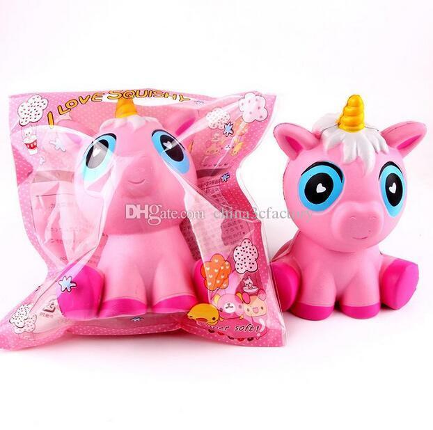 Squishy unicorns jumbo squishies Slow Rising Soft horse Oversize Phone Squeeze toys Pendant Anti Stress Kid Decompression Toy DHL Free