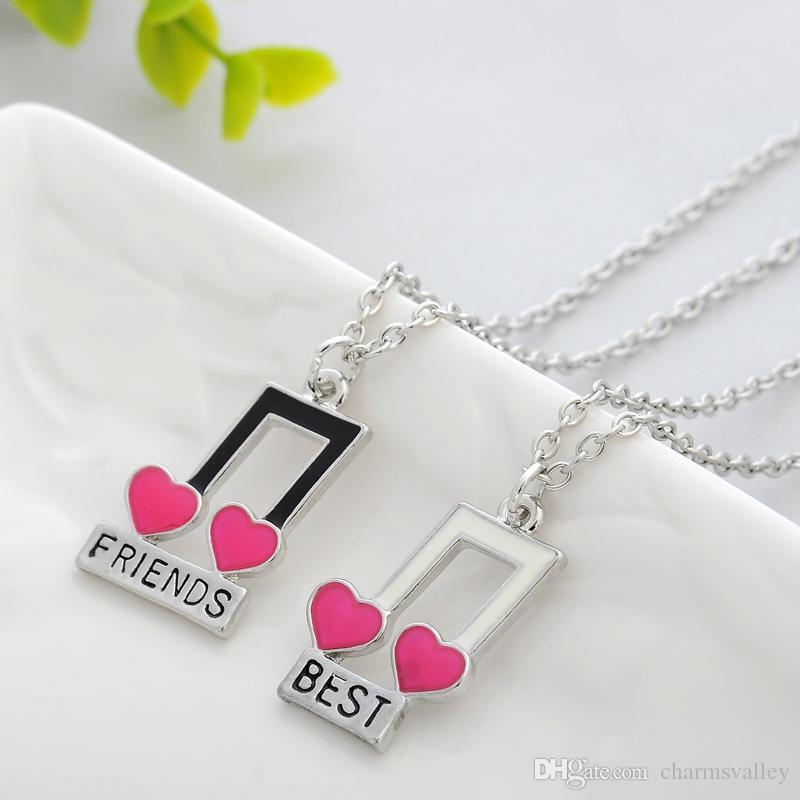 2 Unids / set 17 * 27 MM Música Nota Corazón Collares pendientes Creativos Mejores Amigos Collares accesorios del bolso del coche Regalos
