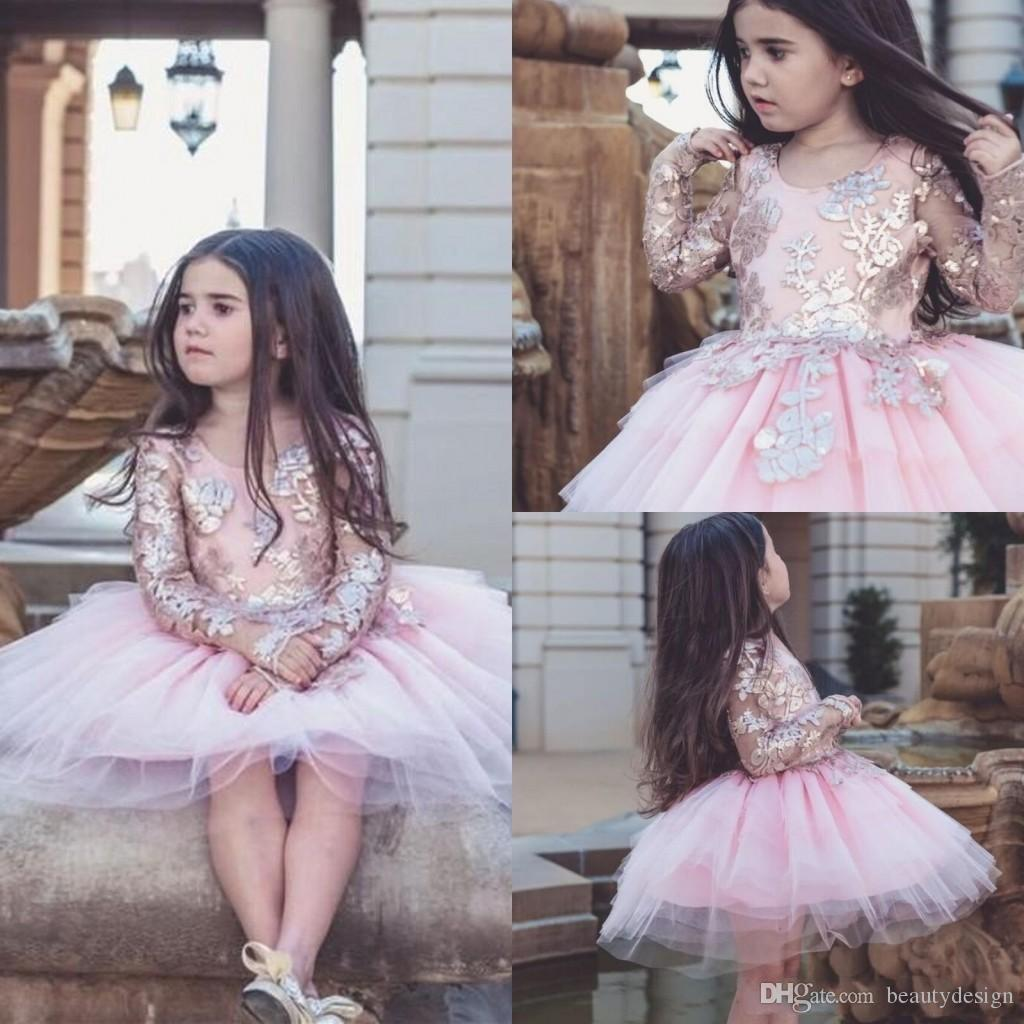 2018 Baby Pink Dollcake Appliqued Flower Girl Dresses Long Sleeves For Weddings Kids Pageant Gowns Knee Length Tulle Party Communion Dress