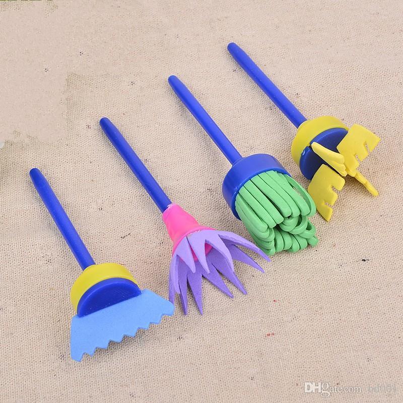 DIY Flor pintada Cepillos sello de esponja fuentes herramientas divertido del dibujo del arte para el regalo de los niños creativos 3 2PW ff Pintura