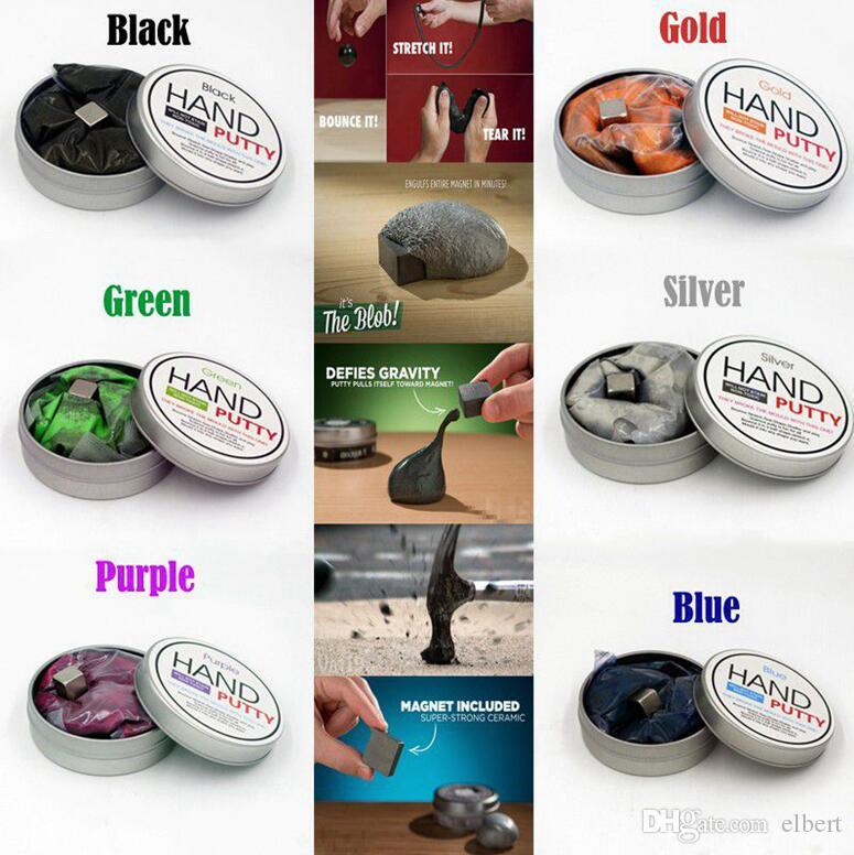 500pcs 6 colors Magnetic Rubber Mud Handgum Hand Gum Silly Putty Magnet Clay Magnetic Plasticine Ferrofluid New DIY Creative Toys K172e