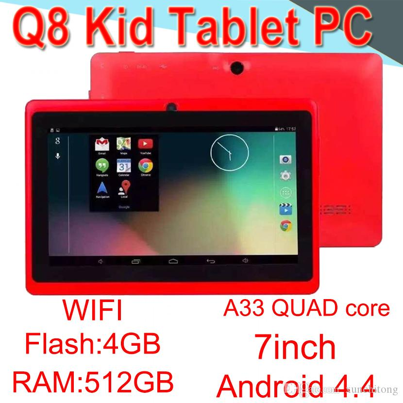 Q8 7inch tablet PC A33 Quad Core Allwinner Flash Android4.4 Strong Capacitive 512MB RAM 4GB ROM WIFI Dual Camera Flashlight Q88 ECPB-6