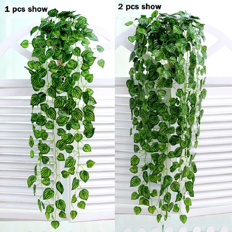 새로운 디자인 12 개 / 몫 인공 아이비 잎 화환 식물 포도 나무 가짜 단풍 꽃 홈 장식 실크 인공 싼 등나무 상록 권운
