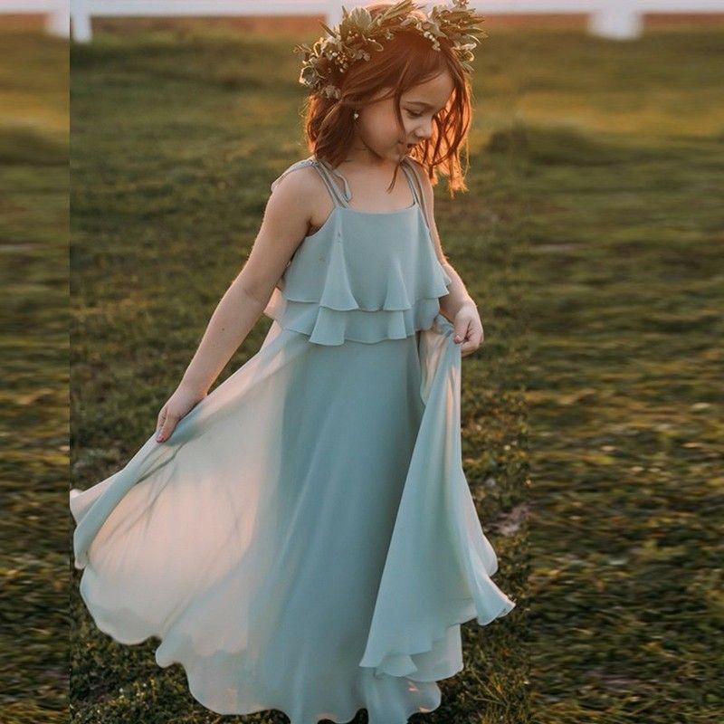 Vestido de correas espaguetis fiesta de la boda muchacha de los niños Sage largo de la gasa de la flor de la princesa de vestir ropa de las muchachas una línea vestido ocasión formal