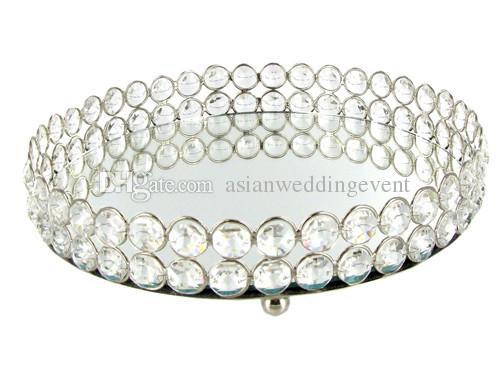 Espejo Bling Bling Crystal Beads Clear Crystal Bandeja redonda de vanidad en plata