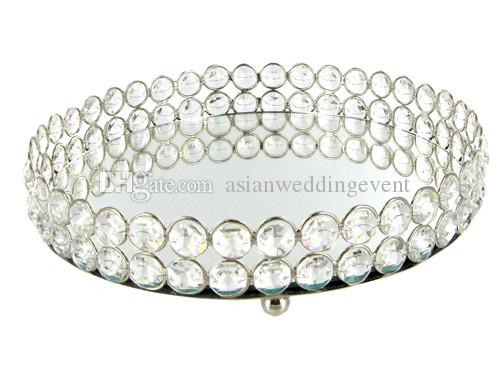 Mirror Bling Bling Crystal Beads Clear Crystal Round vanity tray in silver