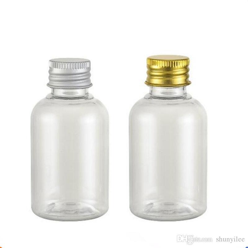Flacons en plastique de 50 ml en aluminium, couvercles en aluminium, bouteilles en plastique vides Emballage voyage bouteille d'emballage expédition rapide