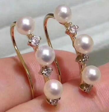Prezzo all'ingrosso libero di trasporto ^^^ Nuovo orecchino naturale d'argento 925 dell'orecchino della perla d'acqua dolce rotonda 5-6mm
