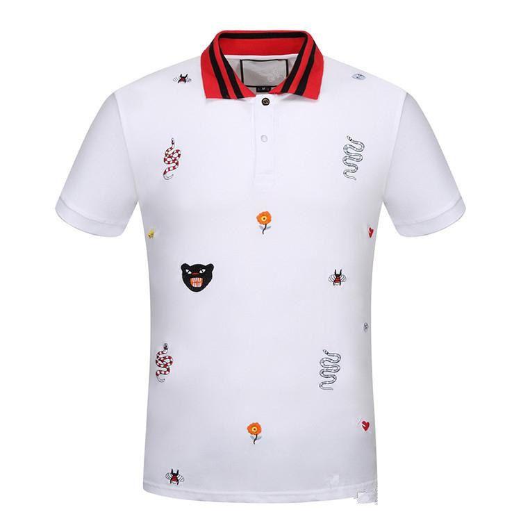 18SS 남성 고급 T 셔츠 봄 코튼 브랜드 T 셔츠 뱀 벌 인쇄 폴로 셔츠 흑백 아시아 크기 M-3XL
