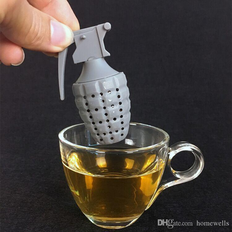 2 Colors Grenade Shaped Tea Bags Strainers Filter Tea Infuser Silicone Cute Teabags For Tea Coffee Candy Drinkware Strainer Kitchen Tools
