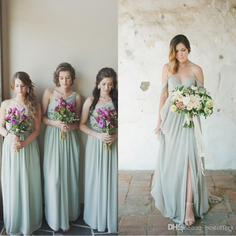 big sale special selection of great prices Gorgeous Flowing Sage Green Chiffon Bridesmaid Dresses A Line Sleeveless  Pleats Long Cheap Bridesmaids Country Wedding Party Guest BM0182 Bridesmaid  ...