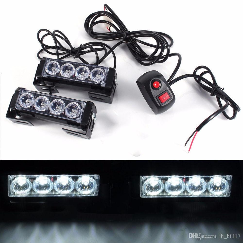 Car Vechicle 4 Led Emergency Strobe Flash Warning Light Lamp 12V 8 Led Front Grille Light Red Blue White Yellow