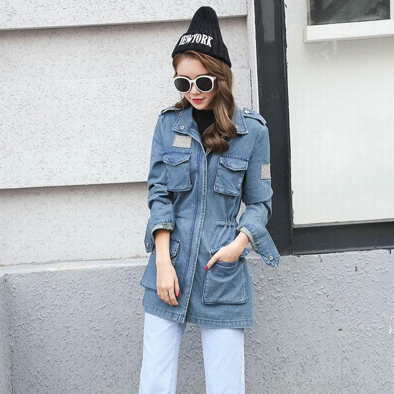 2018 Vintage Femmes Bleu Veste moto Denim Zipper poches sexy punk manteau Avslappnad Outwear Tops Camperas mujer Abrigo