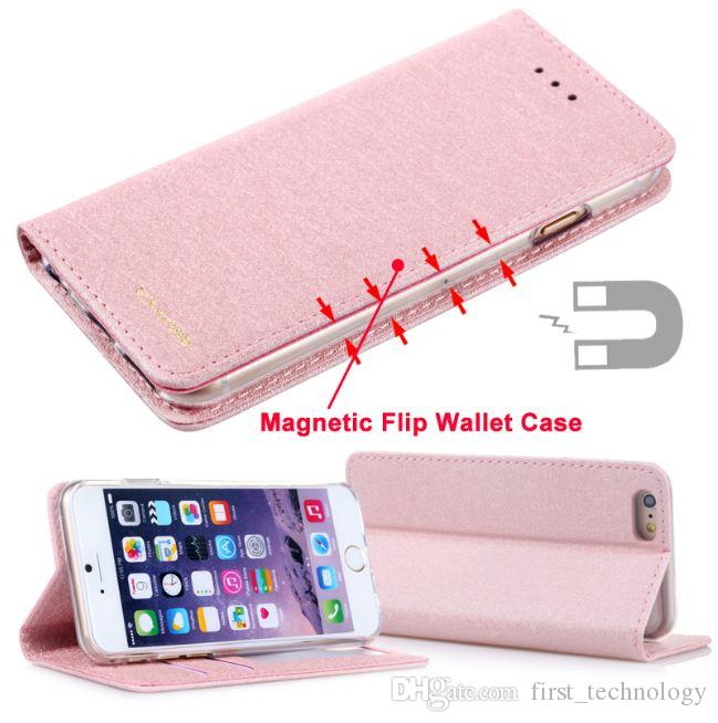 Magnetic Silk Leather & Silicone Flip Cover iPhone Case With Wallet Coque For iPhone X 8 7 6 Plus Samsung Note8 S8 S7 S6