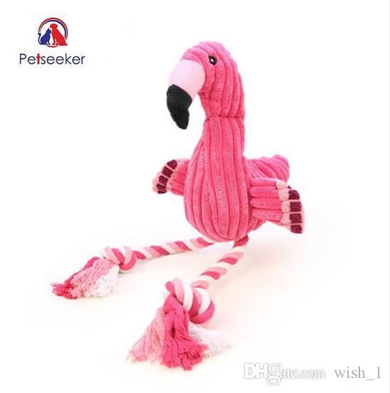 Pink Flamingo Shape Pet Cani giocattolo interattivo Peluche Velluto Pet Puppy Chew Squeaky Sound Toys con corda di cotone