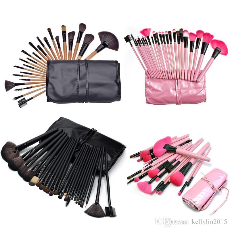 Professional Makeup Brushes Set 24 pcs Mini Pink Black Cosmetic Make up Brushes for Powder Foundation Eyeshadow Lip brush with Bag Cases
