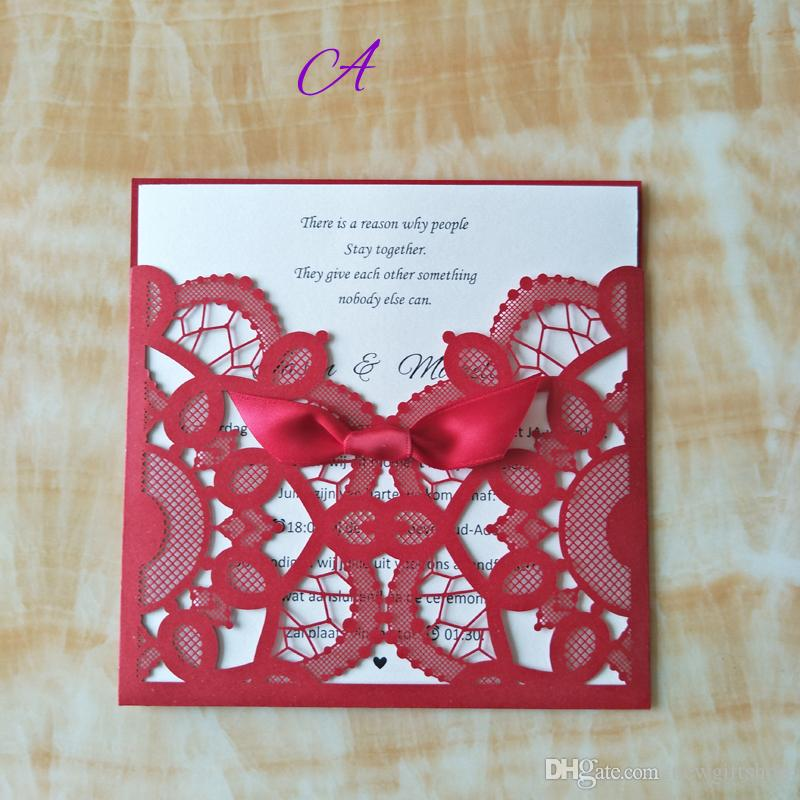 Red Wedding Invitations 2020 Lace Birthday Party Invitation Cards With Envelope Free Customized Printing Wedding Supplies Handmade Invitations How To