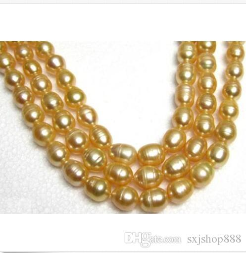 AAA35 INCH HOT ENORME 11- 13MM NATURAL SUD MARE GOLDEN PEARL NECKLACE 14K GOLD CLASP
