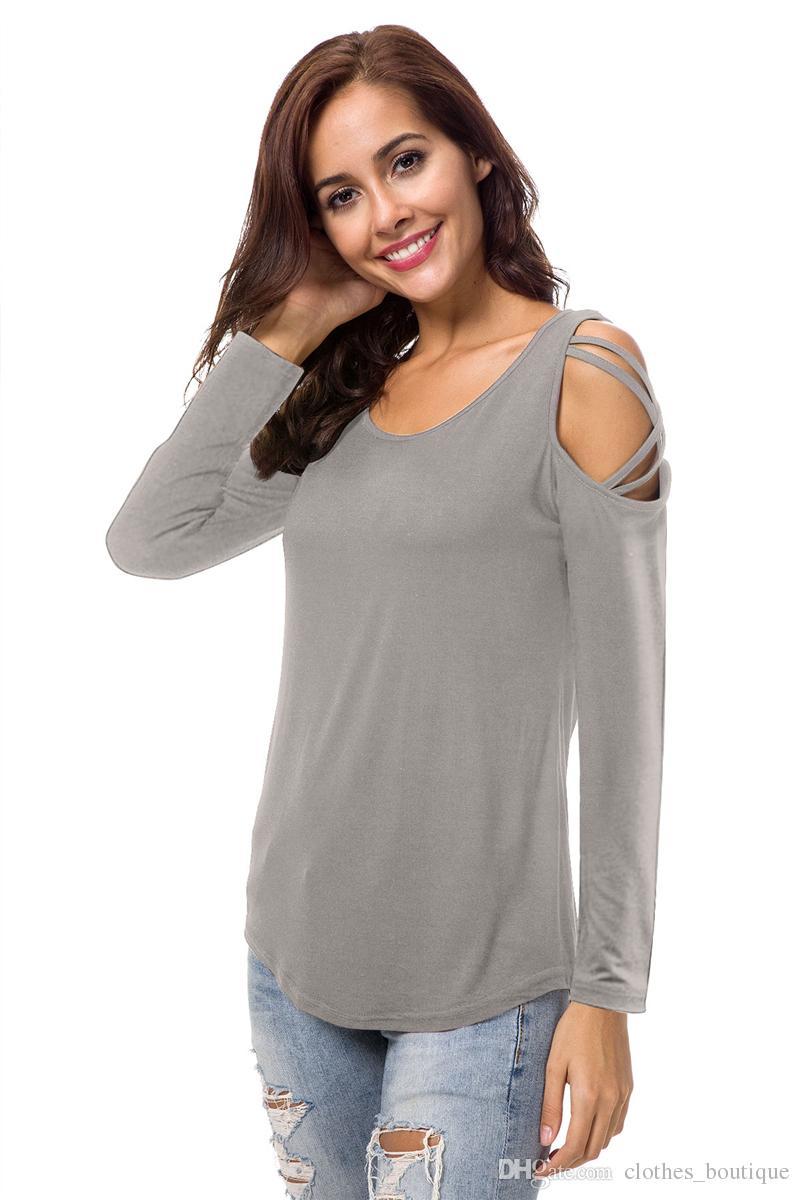 Kadın Casual Crewneck Crisscross Soğuk Omuz Uzun Kollu T Gömlek DHL bayan kazak Casual Gevşek Yuvarlak Boyun Tunik Bluz Tops
