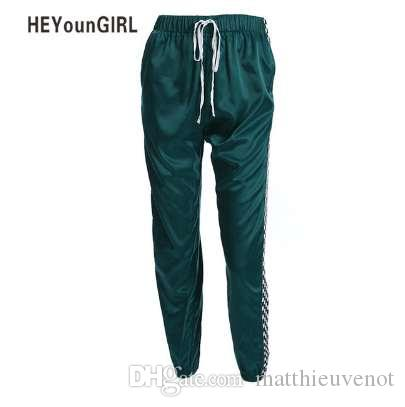 HEYounGIRL Patchwork Damier Ruban Pantalon Femmes Casual Lâche Joggers Pantalon Taille Haute Pantalon De Sport Streetwear Harem Pantalon