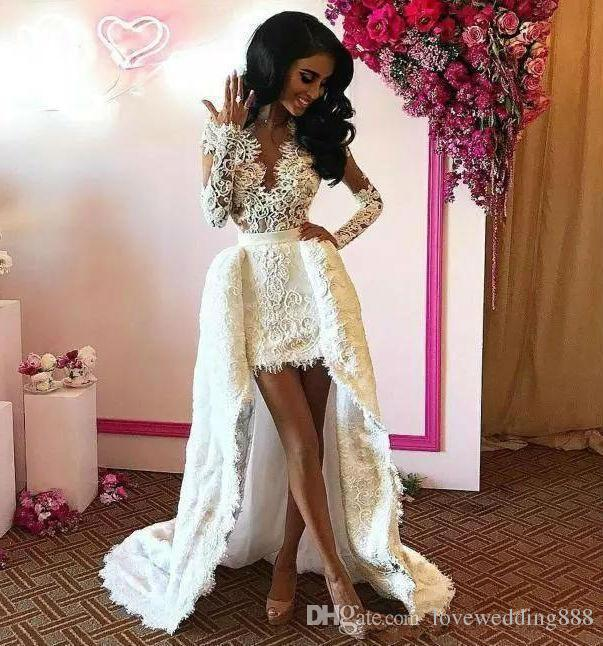 2019 Sexy V Neck Mini Lace Wedding Dresses With Overskirts Long Sleeves Wedding Gowns For Bride Bridal Gowns Wedding Dresses Brides Wedding Dress From